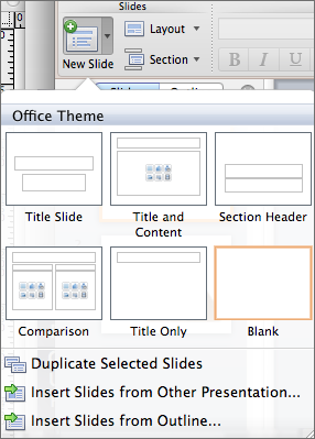 screenshot of the slide options menu