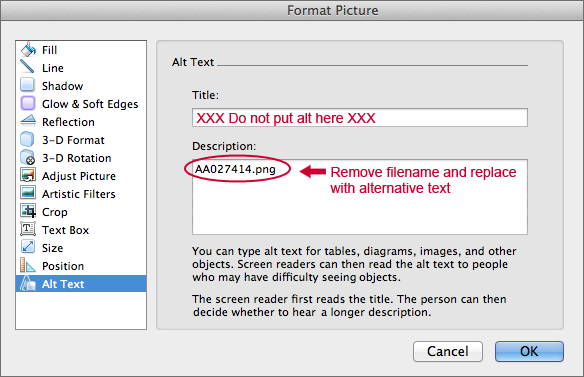 screenshot of the Format Picture window, emphasizing inserting Alt text in the Description field.