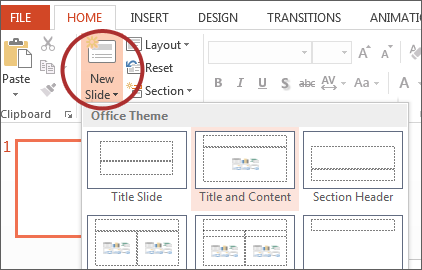screenshot of New Slide button on Microsoft ribbon.