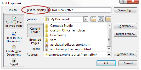 screenshot of Text to Display field located in the Hyperlink window.