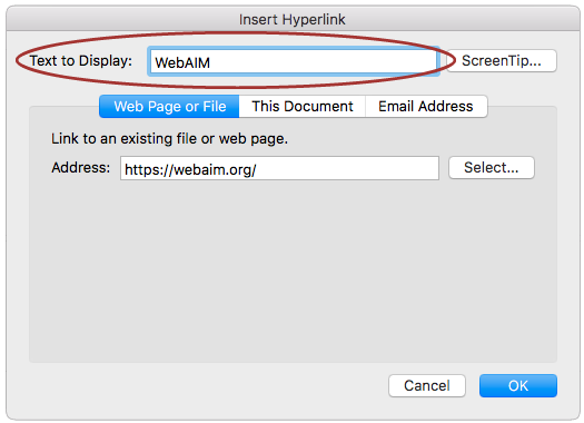 screenshot of the Edit Hyperlink window, with the Display field highlighted.