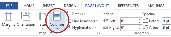 screenshot of Columns button under Page Setup on the Microsoft ribbon.