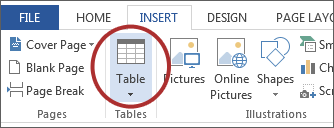 screenshot of Table button on Microsoft ribbon.