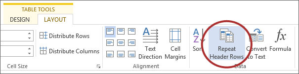 screenshot of Repeat Header Rows button under Data on Microsoft ribbon.